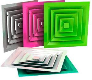 Прямоугольные потолочные диффузоры разных цветов
