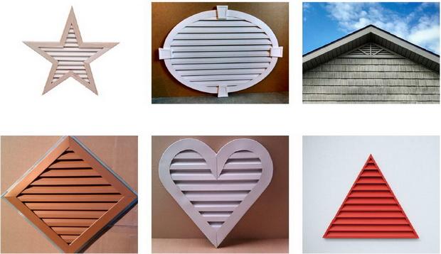 Наружный (фронтальные) вентрешетки оригинальной формы для вентиляции чердачного пространства загородного дома