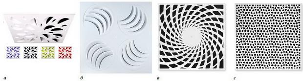 Необычные лицевые панели потолочных вихревых диффузоров 600х600 мм Madel PLAY (б) от Air Additions, а также XARTO от TROX (в, г)