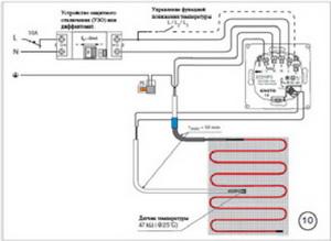 Электрическая схема подключения нагревательного мата к сети